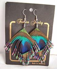 Vintage Peacock Feather multi color Beaded Drop Dangle Hook Earrings Silver Tone