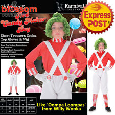 CK940 Red Candy Maker Willy Wonka Wig Oompa Loompa Book Week Boys Kids Costume