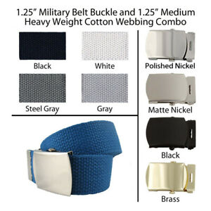 "1.25"" Canvas Military Web Belt, 43 Colors, 6 Finishes and 12 Sizes FREE SHIPPING"