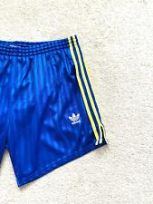 Vintage Adidas Sprinter Glanz Shiny Runner Beckenbauer Shorts Sz M-L Blue Yellow