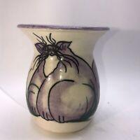 """Pottery Art Studio Signed Vase Purple Painted  4 1/2 """" tall"""