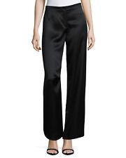 NWT $450 Helmut Lang Satin Woven Wide Leg Pants Black Size 4