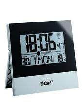 Funk Tisch- Wanduhr in silber/schwarz mit LCD-Anzeige von Uhrzeit, Kalender