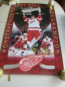 Detroit Red Wings Poster Man Cave, 1997 Stanley Cup RARE!! Vladimir Konstantinov