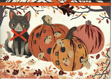 Papyrus Halloween Card - 3 Pumpkins with Cat Kitty & Mice & Copper leaf ribbon