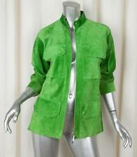 JIL SANDER Womens Green Suede Leather Long-Sleeve Cargo Zip Jacket 34/2/XS