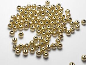 100 Hochwertige Acryl Perlen Gold 6mm,  Basteln Schmuckzubehör NEU