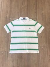 Vintage Fred Perry Polo Shirt, Green And White, Size L Large 100% Cotton
