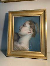 Dessin ancien tableau pastel femme portrait cadre