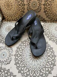 Women's Aspire By Okabashi Wedge Heel Sandals Flip Flop Size Large Black NWOT
