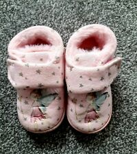 NEXT Girls Pink Fairy Star Fluffy Nightwear Slippers Infant Size 6