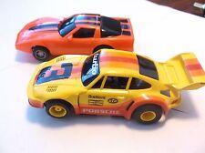 2- tyco slot cars porsche turbo & corvette stingray ho 1/64 scale fast nice!!