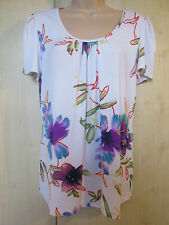 Womens Kim & Co White Multi Orchid Fantasy Ruched Sleeve Top size MEDIUM  NEW