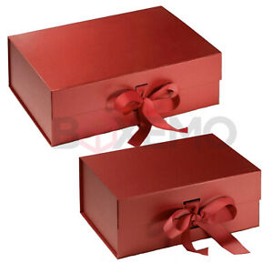 Red Gift Box With Ribbon - Two Sizes - Magnetic Box - Large Gift Box - Red