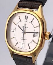 Cyma Cal. 956.111 Vintage Watch Lizard Band Gold Plated 32mm Non Working 3WC