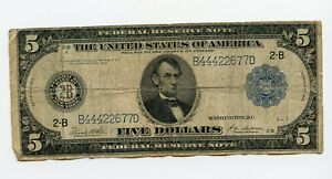 1914 $5 Five Dollar Federal Reserve Large Size Note