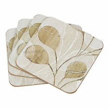 Set of 4 Drinks Coasters Rustic Leaves Surface Protector Desk Table Coffee Cup