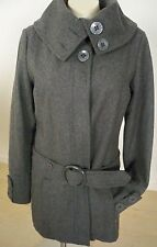 Roxy Gray Wool Coat Size L Button Front Removeable Belt Side Pockets Big Buttons