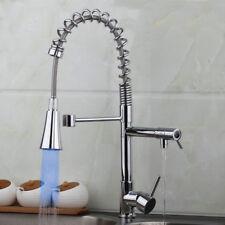 LED Swivel&Pull Down Kitchen Sink Mixer Sprayer Spout Faucet Single Hole Taps