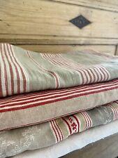 BUNDLE antique vintage CUT fabrics TICKING #1 WASHED lot CRAFT 1900