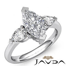 Women's 3 Stone Marquise Diamond Engagement Ring GIA I VS2 14k White Gold 1.5 ct