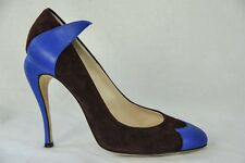 FENDI Womens Brown+Blue Suede Leather Accent High Funky Heel Pump Shoe 10/40