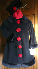 Girl's Coat & matching Hat-Black w/Red Velvet Roses & Faux Fur Trim NWT's size 6