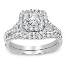 2.11 Ct Diamond Halo Engagement Ring Wedding Band Bridal Set 14k White Gold Over