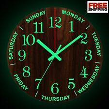 12 Inch Luminous Wall Clock Wooden Silent Non-Ticking With Night Light