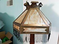 "New listing Large Antique Arts & Crafts Slag Glass Brass Lamp Light Shade Beaded Fringe 18""!"
