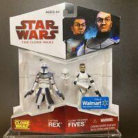 STAR WARS THE CLONE WARS CAPTAIN REX TROOPER FIVES 3.75 Walmart Exclusive 2 Pack