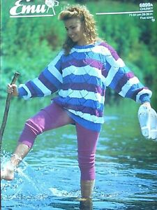 EMU 6899A - LADIES CHUNKY STRIPED SWEATER KNITTING PATTERN 28/36in
