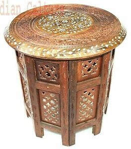 New Indian Sheesham Wood Hand Carved Dining Folding Table Furniture