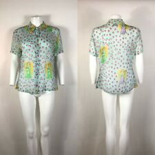 Rare Vtg Gianni Versace Versus Sheer Angel Print Shirt XL