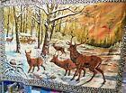 """VTG Tapestry Large Wall Hanging Rug 49"""" x 71"""" DEER HERD Plush Velvet Italy GUC"""