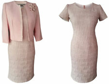 SOFT DUSTY PINK MOTHER OF THE BRIDE GROOM OUTFIT 2 PIECE JACKET DRESS SIZE 20