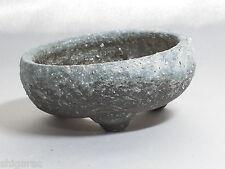 """Bonsai pot shigaraki grès """"noir et blanc petits"""" d9cm planteuse japonais"""