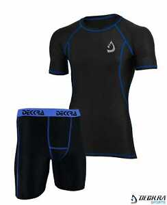 Mens Compression Shirt Base Layer Skin Fit Under Armour Gym Cycling Tight Shorts