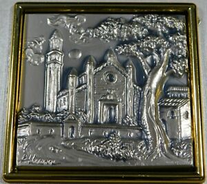 ITALY ALLIANI STERLING Wood Bas-relief 2 Framed PLAQUES Limited Edition Estate