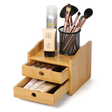 2-Tier Desk Organizer with Drawer Bamboo Box Drawer Organizer   Large Capacity
