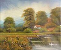 Dipinto Olio Su Tela Pittura Arte Paesaggio Cornice Quadro Antiquariato Telaio