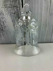 Engraved 2003 Waterford Crystal Christmas Bell Clear Glass OrnamentUSA