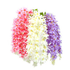 Hanging Wall Artificial Fake Silk Rattan Flowers Orchid Violet Outdoor Garden