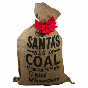 FOGO Santa Bag of Coal with Premium Black Natural Hardwood Charcoal, 35 Pounds