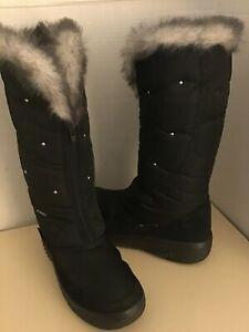 Pajar women black waterproof winter fur tall knee high boots US size 8 Euro 39