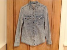 denim shirt/blouse, button front, stonewash, fitted size 8