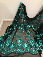 "BLACK STRETCH MESH W/TEAL GREEN SEQUIN EMBROIDERY LACE FABRIC 52"" WIDE 1 YARD"