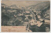 Ansichtskarte Tharandt - Blick auf den Ort im Winter - Litho 1902 - schwarz/weiß