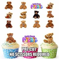 PRECUT 36 Teddy Bears Picnic Edible Cupcake Toppers Birthday Cake Decorations