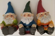 Fairy Garden Ceramic Gnomes Figurines, Select: Blue, Green or Red